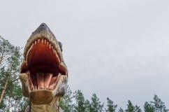 打开嘴恐龙模型暴龙rex 免版税库存照片