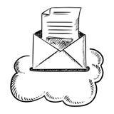 打开在云彩的电子邮件信 库存照片