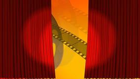 打开在剧院阶段的帷幕 库存例证