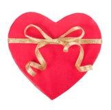 打开在心脏形状的礼物盒与弓 库存照片