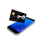 打开在智能手机,手机例证的creditcard 免版税库存照片