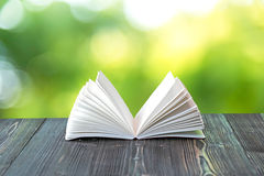 打开在木板条的书在抽象光 免版税库存图片