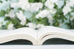 打开在木桌和自然本底上的精装书书 回到学校 复制广告文本的空间 图库摄影