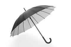 打开在白色的黑伞,裁减路线 库存图片