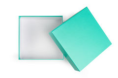 打开在白色背景的绿色礼物盒 免版税图库摄影