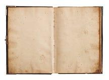 打开在白色隔绝的旧书 免版税库存照片