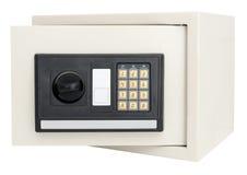 打开在白色隔绝的电子保险柜 库存照片