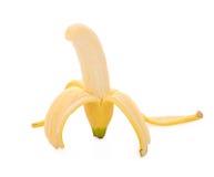 打开在白色隔绝的香蕉 库存图片