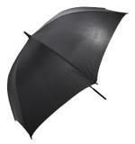 打开在白色隔绝的黑大伞 库存照片