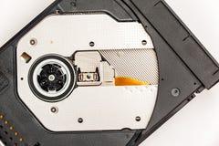打开在笔记本的光学CD/DVD磁盘驱动器 图库摄影