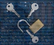 打开在计算机上的安全锁 免版税库存图片