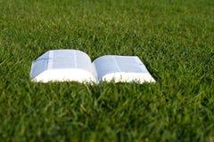 打开在绿草的书 库存照片