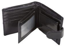 打开在黑颜色的钱包 免版税库存图片