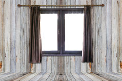 打开帷幕和窗口在木地板上在白色backgroun 免版税库存图片