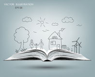 打开愉快的家庭故事书  免版税库存照片