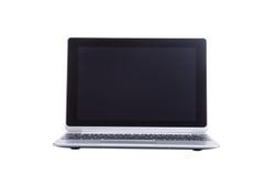 打开有一个空白的黑屏幕的膝上型计算机在白色 免版税图库摄影