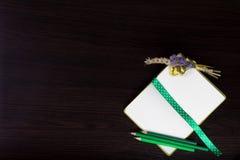 打开有圆点丝带的笔记本作为书签、钮扣眼上插的花和绿色铅笔 免版税库存照片