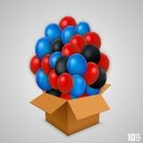 打开有气球的纸箱 免版税库存照片