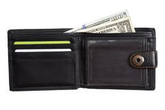 打开有现金美元的黑皮革钱包 免版税库存图片