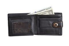 打开有现金美元的黑皮革钱包 库存图片