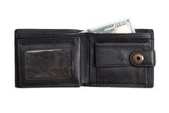 打开有现金美元的黑皮革钱包 免版税库存照片