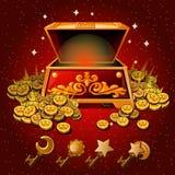 打开有皇家金币和不可思议的钥匙的箱子 库存图片