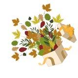 打开有秋叶的箱子 免版税库存图片