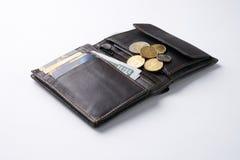 打开有美元现金的,硬币,借方信用卡片棕色皮革钱包 库存照片