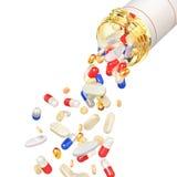 打开有落的药片的药瓶 库存例证