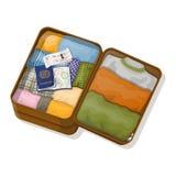 打开有衣裳的与签证的手提箱,护照和票 图库摄影