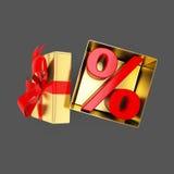 打开有里面百分号的礼物盒 库存图片