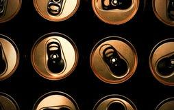 打开有金黄顶部的罐头 特写镜头 背景 宏观图象可以使用作为背景 免版税库存照片