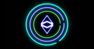 打开有Ethereum经典等标志的数字锁的概念 皇族释放例证