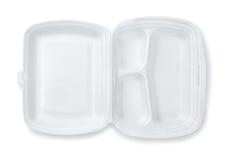 打开泡沫取决于三隔间膳食容器 库存照片