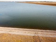 打开海洋水海岸夏天春天天蓝色云彩背景 免版税库存图片