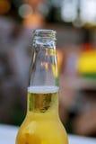 打开瓶在自然背景的啤酒  库存照片