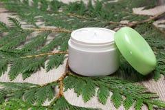 打开瓶子在绿色叶子的润湿的奶油 图库摄影