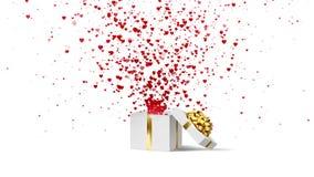 打开白色节日礼物箱子有金弓的和有流程红色和桃红色心脏的 情人节在白色的圈动画 皇族释放例证
