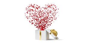 打开白色节日礼物箱子有金弓的和有流程红色和桃红色心脏的 情人节在白色的圈动画 向量例证