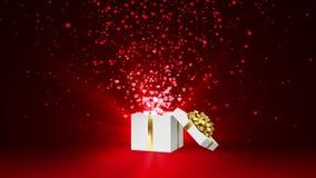 打开白色节日礼物箱子有金弓的和有流程红色和桃红色心脏的 情人节在红色的圈动画 向量例证