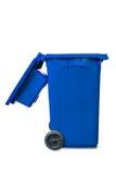 打开盒盖蓝色垃圾桶 库存照片