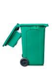 打开盒盖绿色垃圾桶 库存图片
