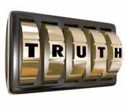 打开秘密诚实的事实的真相安全拨号盘 库存照片