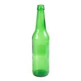 打开空的绿色啤酒瓶 免版税库存照片