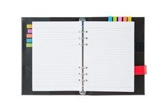 打开笔记本在教育的白色背景隔绝的黑色盖子 库存照片