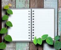 打开笔记本有木和绿色植物背景。 免版税库存照片