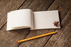 打开笔记本舱内甲板位置照片 笔记薄有空白页顶视图 写生簿传播和热带装饰项目在土气 库存照片