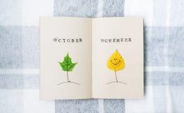打开笔记本,秋天smilies 桦树和槭树的叶子 10月 11月 免版税图库摄影