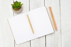 打开笔记的笔记本和与铅笔的一支笔在一张木桌上 库存图片
