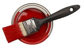 打开红色油漆罐头 免版税库存图片